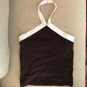 Ralph Lauren Black Label Brown/White Cotton Halter